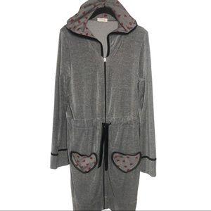 Intimissimi Grey Hooded Heart Velour Robe Large
